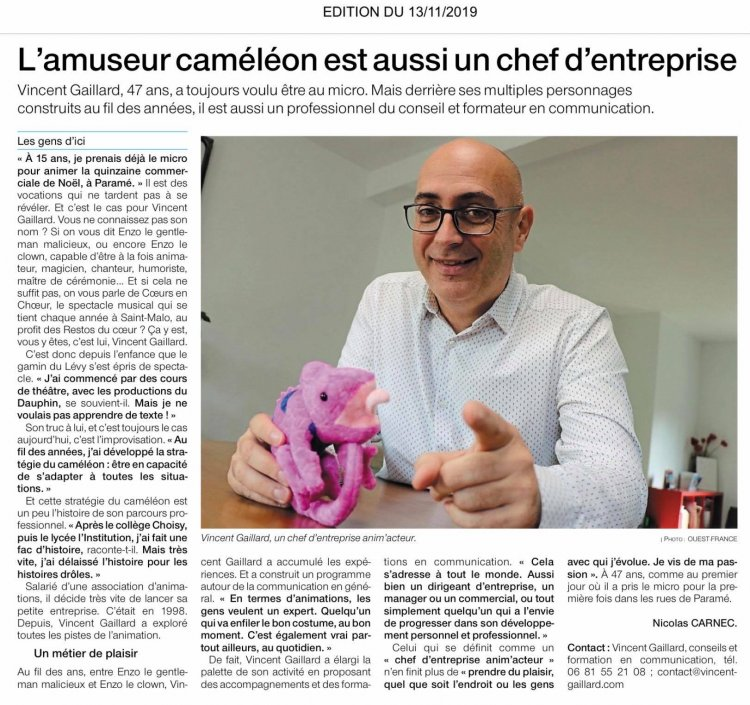 Article Ouest France 13/11/2019